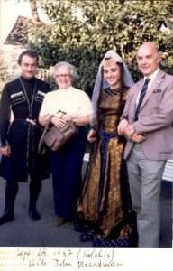 Bruni Ridgway, John Boardman, and two Georgian dancers