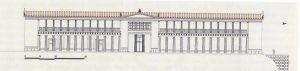 Restitution de la façade du palais d'Aigai